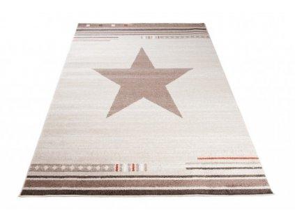 Moderní kusový koberec MAROKO L916B Hvězda krémový