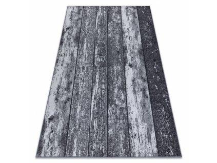 Kusový koberec pogumovaný WOOD Dřevo desky šedý