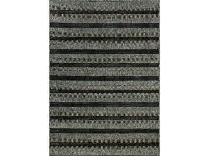 Kusový koberec pogumovaný Scandigel 7223/DM9E Pruhy šedý / černý