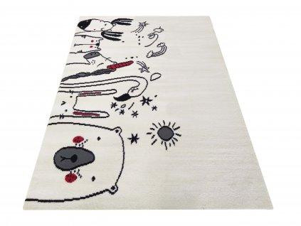 Dětský kusový koberec Soho 09 Plameňák Medvídek bílý