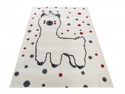 Dětský kusový koberec  Soho 08 Lama bílý