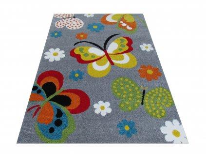 Dětský kusový koberec Mondo 14 Motýli šedý