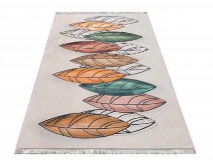 Moderní kusový koberec protiskluzový Horeca 02 Peří béžový