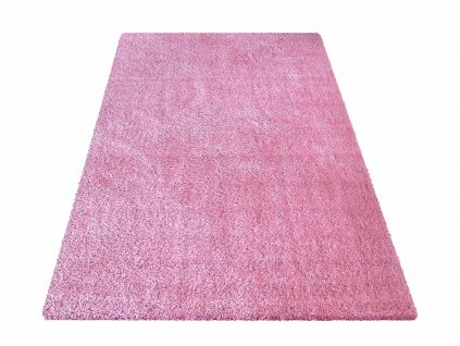 Kusový shaggy koberec jednobarevný Kamel Růžový