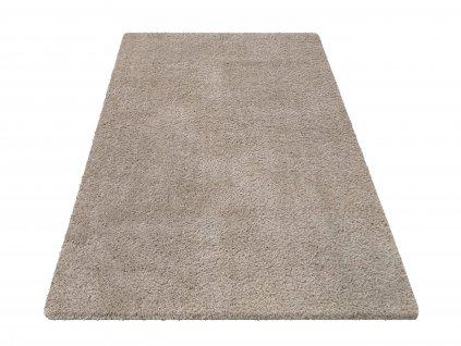 Kusový shaggy koberec jednobarevný Kamel Latte světle béžový