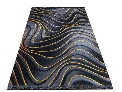 Moderní kusový koberec protiskluzový Horeca 27 tmavě šedý / zlatý