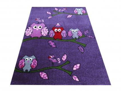 Dětský kusový koberec Bella 01 Sovičky fialový