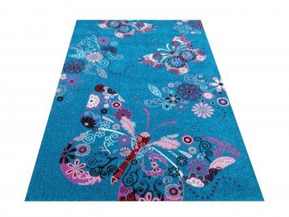 Dětský kusový koberec Bella 03 Motýlci modrý