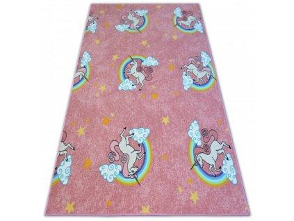 Kusový dětský koberec UNICORN Jednorožec růžový