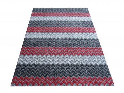 Moderní kusový koberec Sherpa 01 šedý / čevený