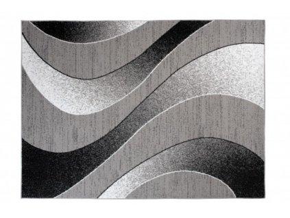 Kusový koberec BALI C586C Vlny tmavě šedý / černý