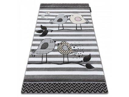 Dětský kusový koberec PETIT ptáčci šedý