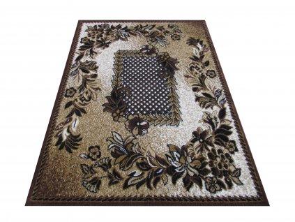 Kusový koberec BCF Alfa 01 Květy hnědý