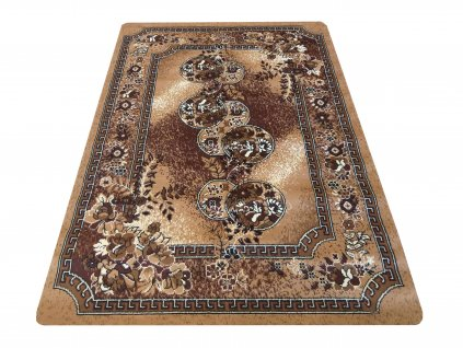 Kusový koberec klasický BCF Alfa 09 Květy hnědý