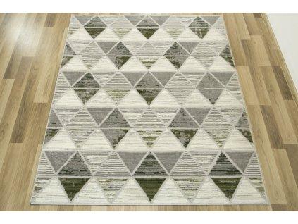 Moderní kusový koberec Texas 122 Trojúhelníky šedý / zelený