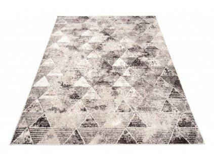 Moderní kusový koberec FIESTA 36140/36966 Trojúhelníky šedý / béžový