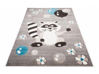 Dětský kusový koberec FIESTA 36212/37123 Míša Balónky šedý / modrý