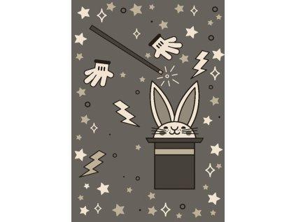Dětský kusový koberec FIESTA 36213/37122 Králík Klobouk šedý