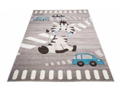 Dětský kusový koberec FIESTA 36211/37123 Oslík Autíčka šedý