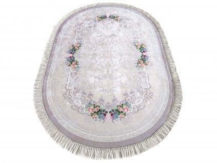 Oválný kusový koberec protiskluzový Horeca 05 Květy béžový