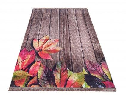 Moderní kusový koberec protiskluzový Horeca 06N Listí hnědý