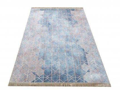Moderní kusový koberec protiskluzový Horeca 08 Geometrický modrý
