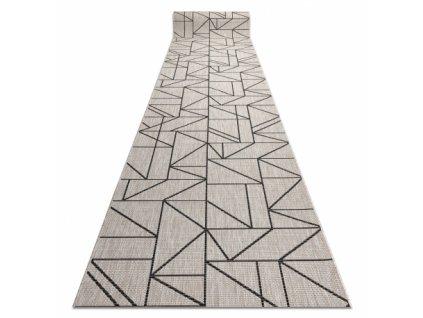 Běhoun Sisal FLOORLUX 20605 Trojúhelníky stříbrný / černý