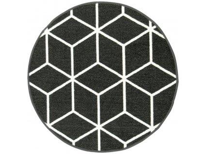 Kulatý koberec Cubes 29 protiskluzový černý / bílý