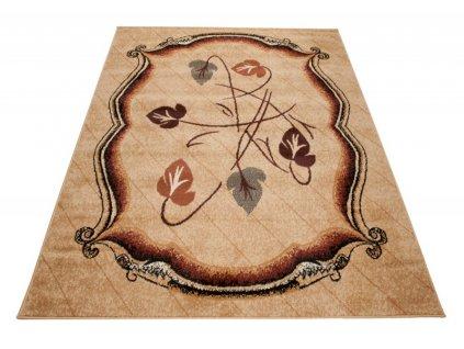 Kusový koberec ATLAS 7026D Listy světle béžový