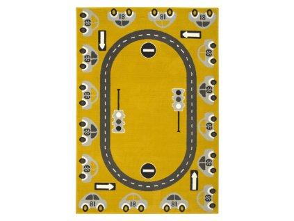 Dětský kusový koberec LUNA KIDS 531825/89955 Auta Autodráha hořčicový