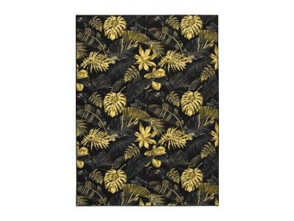 Kusový koberec Monstera Listy palmy černý / zlatý