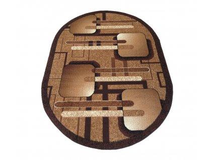 Oválný kusový koberec BCF Alfa 16 hnědý