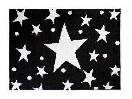 Moderní kusový koberec BALI C440A Hvězdy černý / bílý