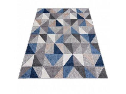 Moderní kusový koberec AVENTURA EC96B Trojúhelníky šedý
