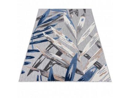 Moderní kusový koberec AVENTURA EC68C Listy palmy šedý / modrý