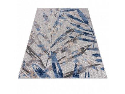 Moderní kusový koberec AVENTURA EC68B Listí palmy šedý / modrý
