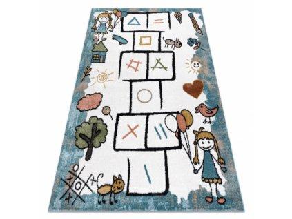 Dětský kusový koberec FUN Skákací panák modrý