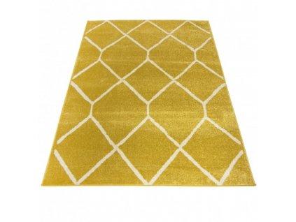 Moderní kusový koberec SPRING H180A Žlutý