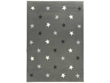 Kusový koberec KIDS 533752/89911 Hvězdy šedý