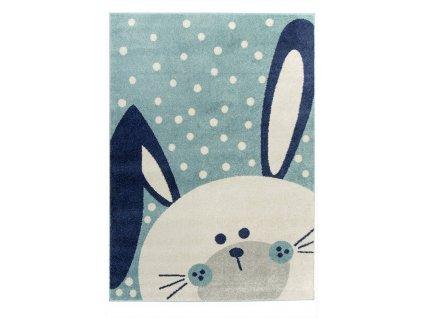 Dětský kusový koberec EMILY KIDS 2323A Králíček modrý
