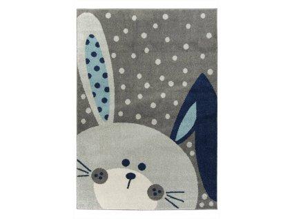 Dětský kusový koberec EMILY KIDS 2323A  Králiček šedý / modrý