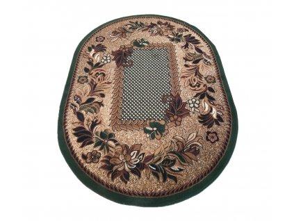 Oválný koberec BCF Alfa 01 Květy zelený
