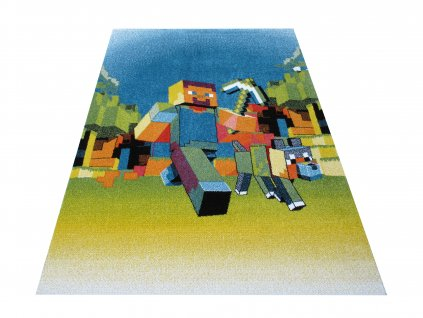 Dětský kusový koberec Mondo 05 Minecraft modrý
