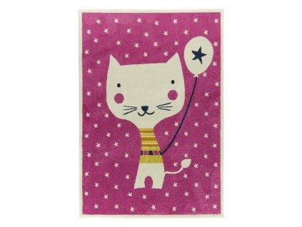 Dětský kusový koberec EMILY KIDS 2340A Kočička růžový