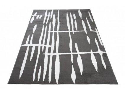Moderní kusový koberec CHEAP T967A tmavě šedý / bílý