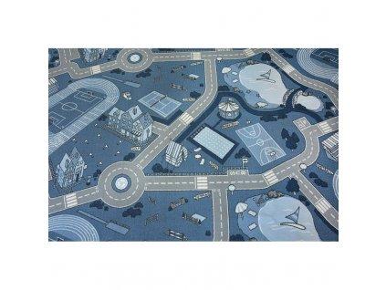 Dětský kusový koberec STREET Uličky modrý