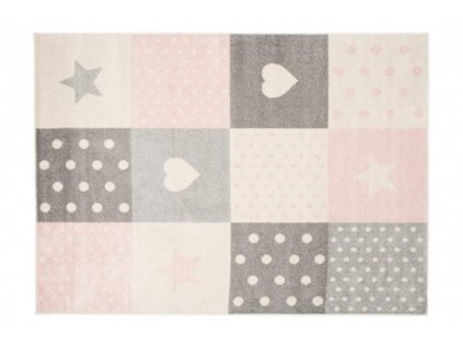 Kusový koberec LAZUR C573I hvězdy srdce bílý / růžový