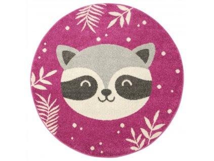 Kulatý dětský koberec EMILY KIDS 5863A Míša Růžový