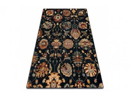 Kusový koberec vlněný Dywilan Superior Latica Navy Černý Modrý