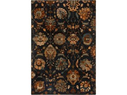 Kusový koberec vlněný Dywilan Superior Latica Tabaka Černý / Modrý